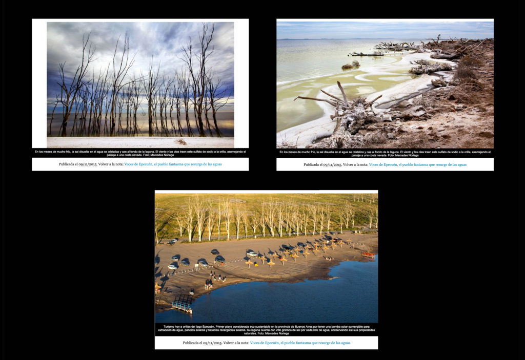 """Voces de Epecuén"" photojournalism article & photographs published on PERFIL.com online newspaper. November 2015"