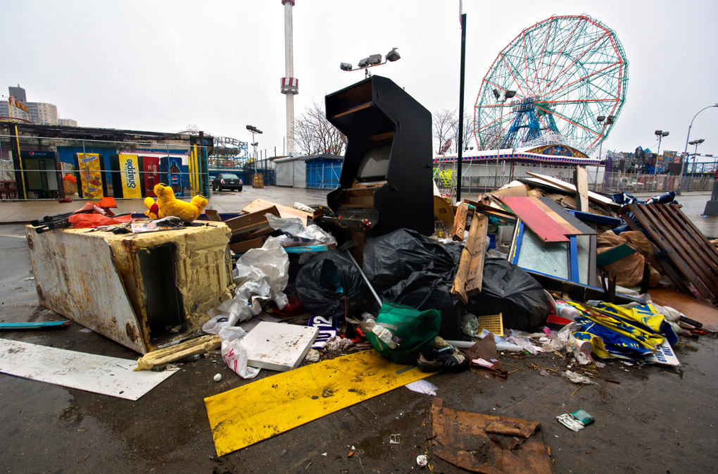 Coney Island leftovers after Sandy hurricane in October 2012