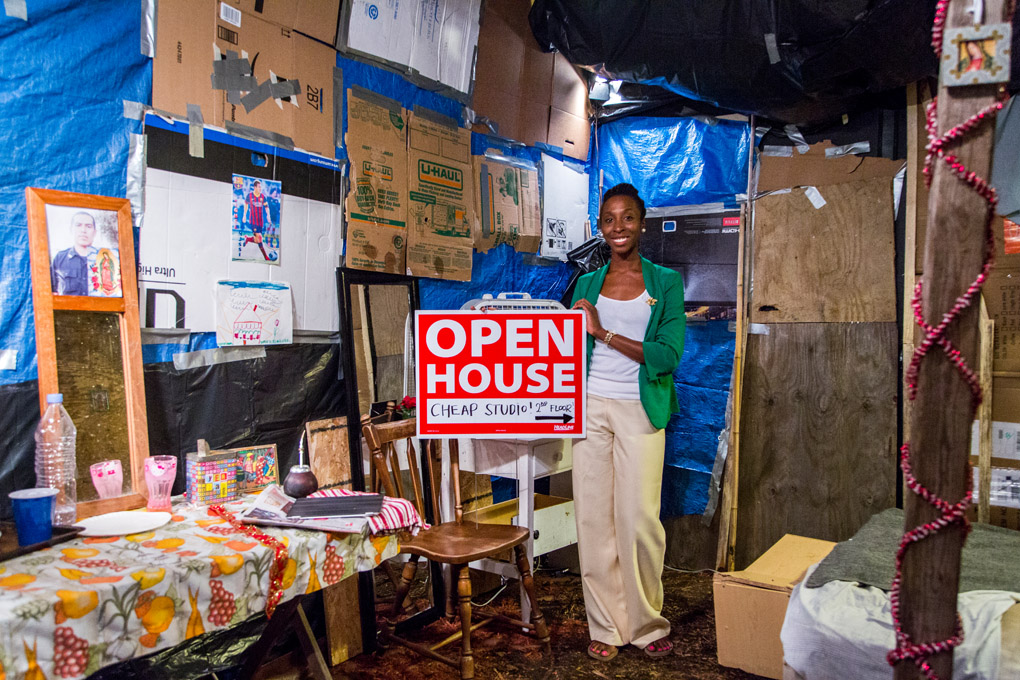 A slum replica on the street at Techo's poverty awareness campaign - New York