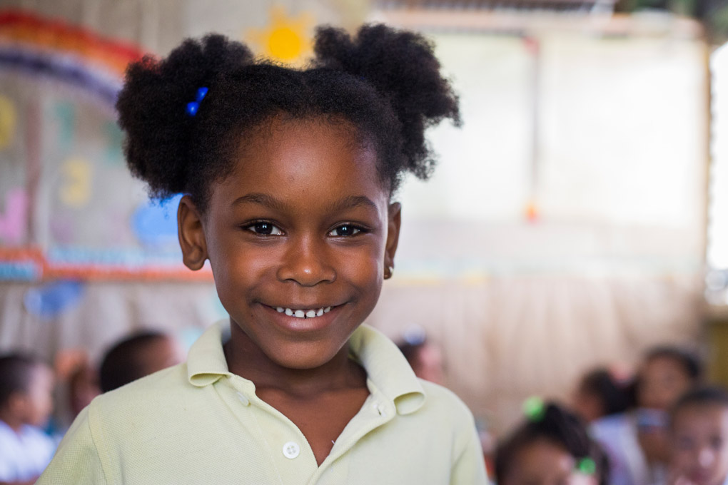 5 year old Carolyn attends school at Samana in the Dominican Republic