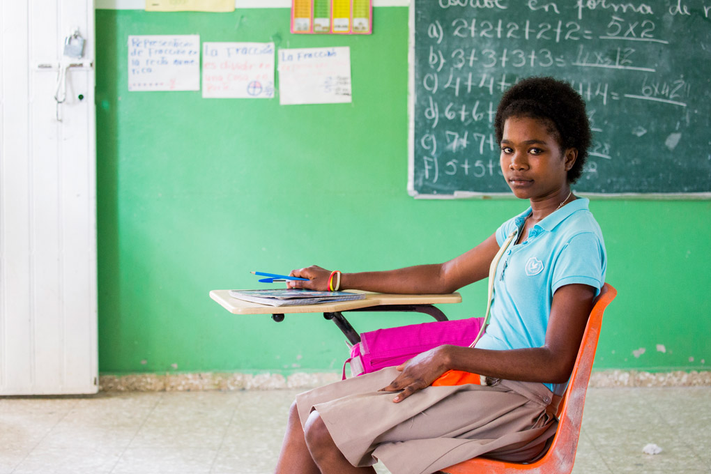 15 year old Maleni attending school at Arroyo Barril in the Dominican Republic