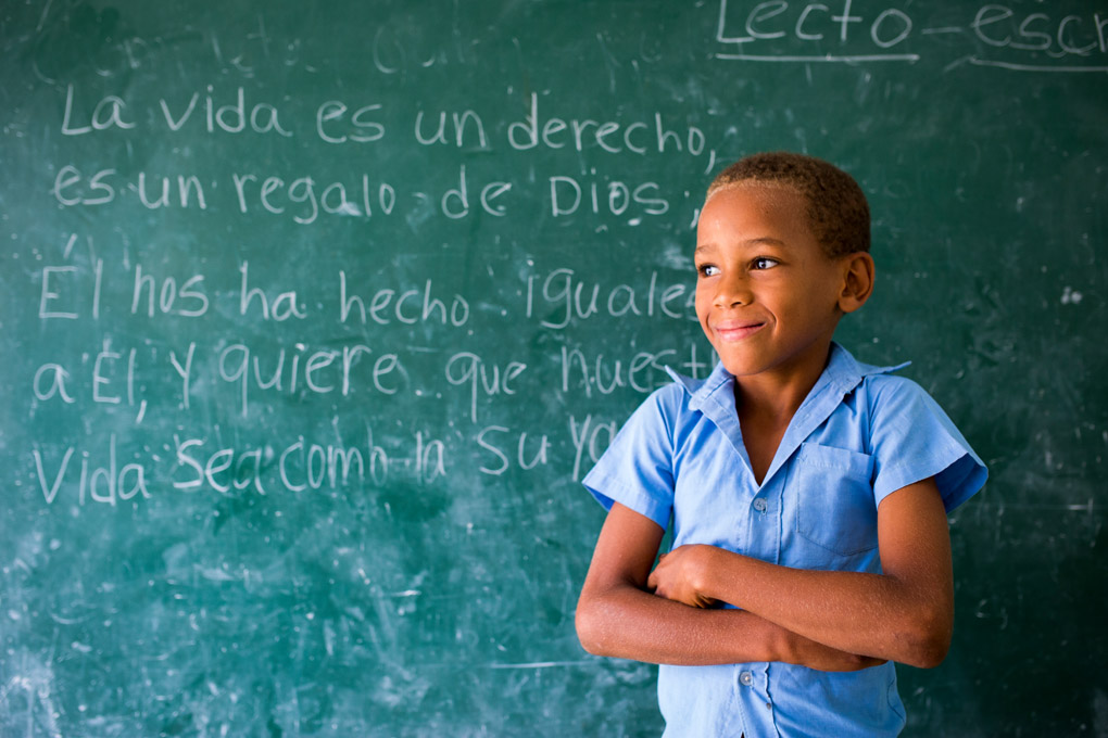 9 year old Luis attends public school at Samana in the Dominican Republic