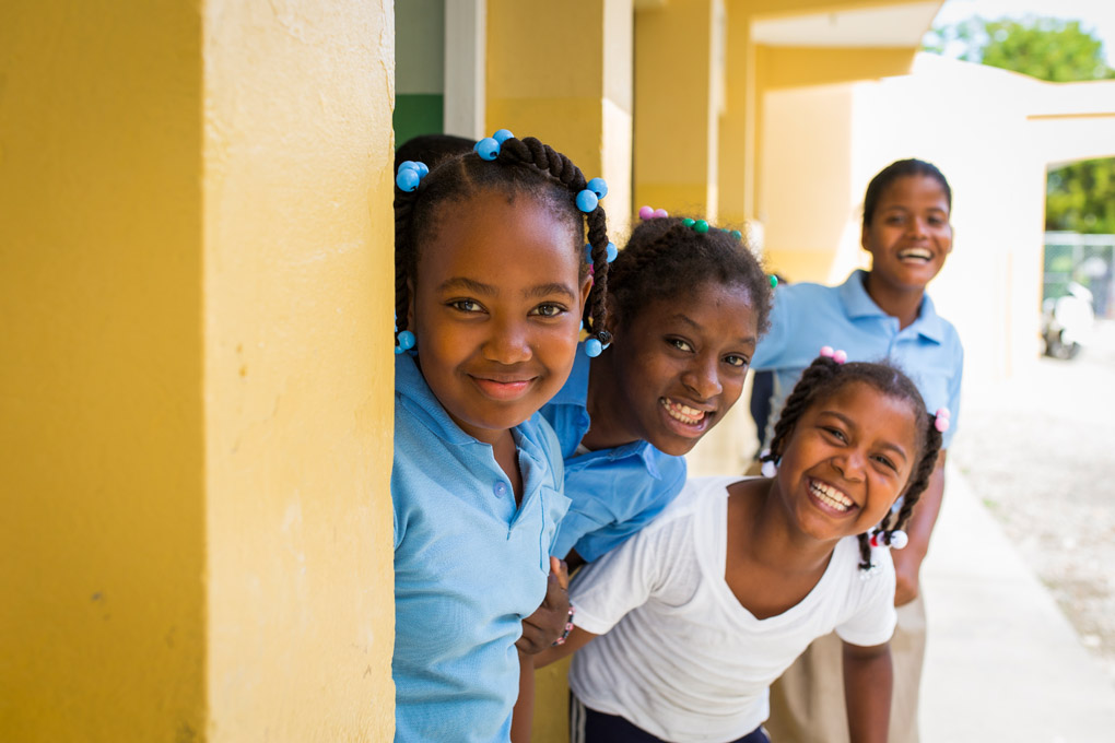 Girls attending school at Arroyo Barril in the Dominican Republic