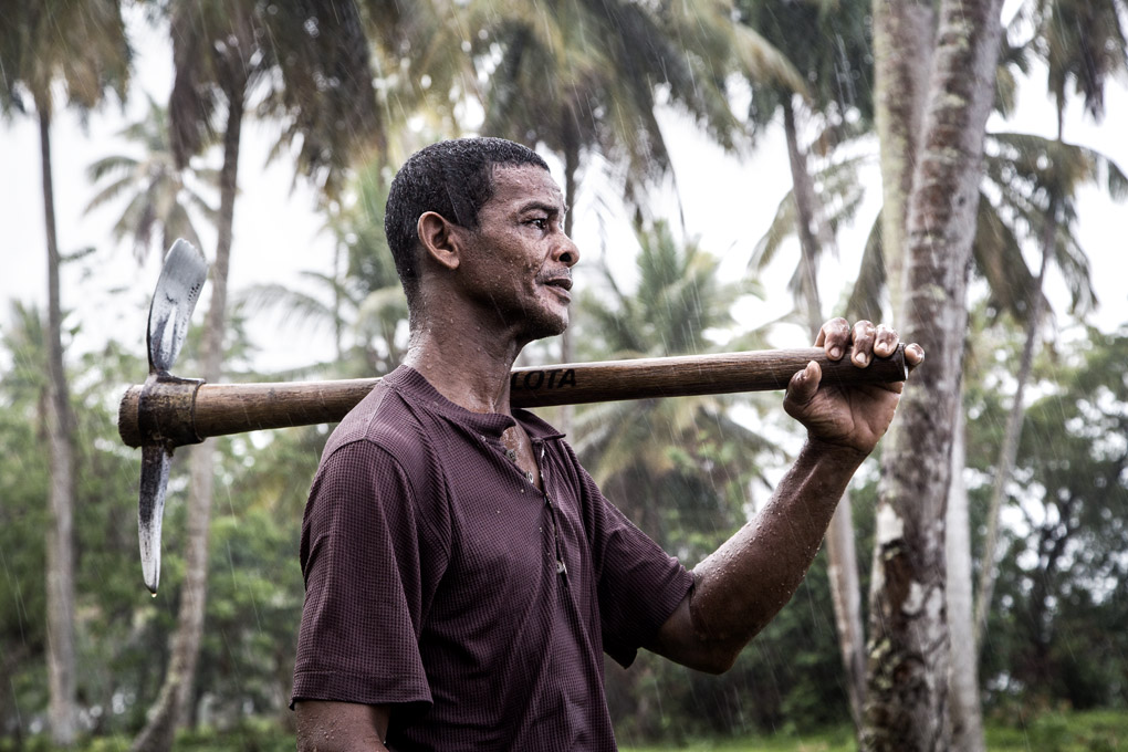 54 year old Luis on his way back from work at the yuca plantations. - Arroyo Barril, The Dominican Republic