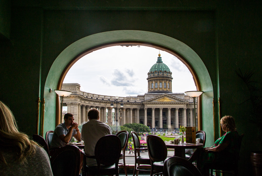 View of Kazan Cathedral from Dom Knigi's Cafe Bookshop, Saint Petersburg, Russia